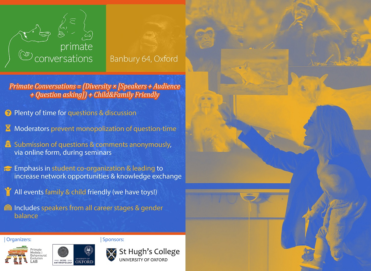 Advertisement poster for Primate Conversations showing Dr Alex Alvergne holding her young daughter during her presentation in March 2019 alongside some text outlining the inclusivity aims of the series