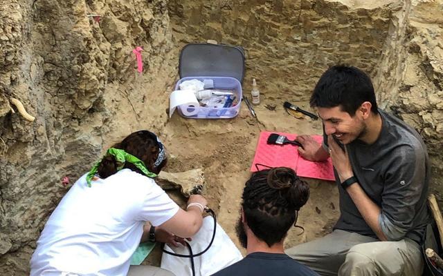 Susana Carvalho, João Coelho and Thomas Püschel excavating Miocene fossils in Gorongosa National Park during the 2019 field season