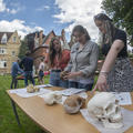 Undergraduate Archaeology and Anthropology students examining fossil hominin skull casts during a practical teaching session taught by Susana Carvalho and René Bobe in Trinity Term 2021, photo by Ian Cartwright