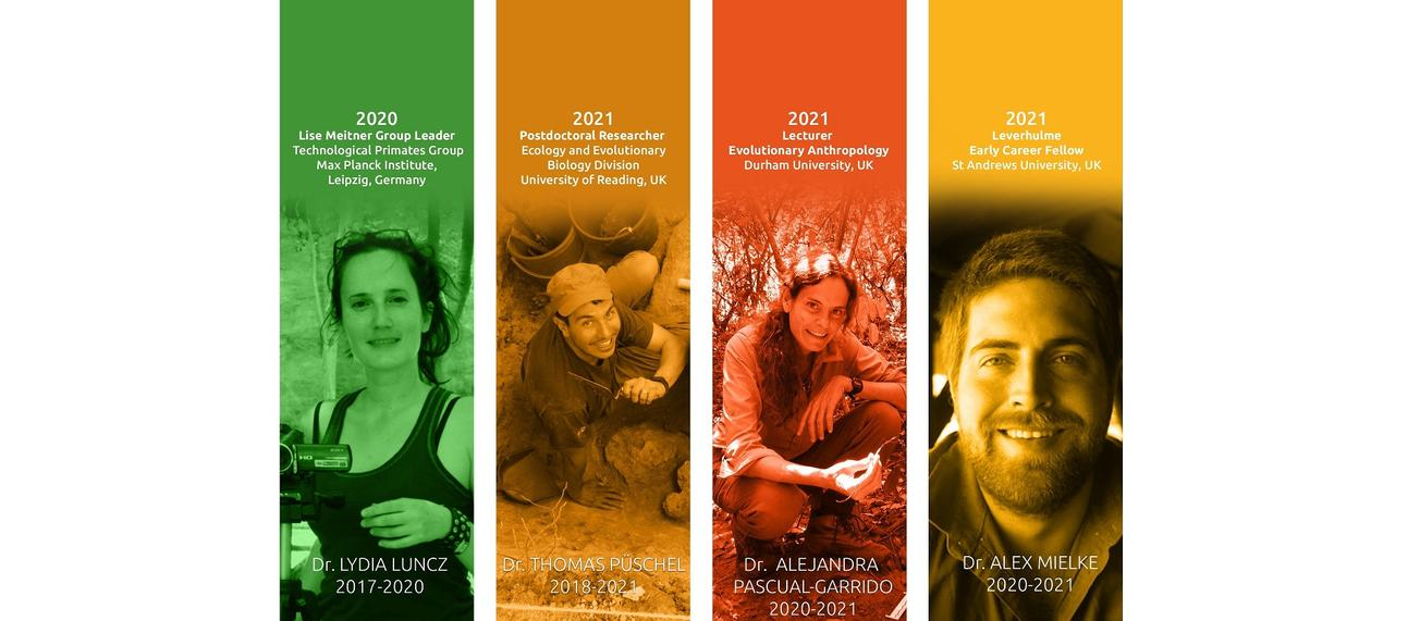 Images of our first four post-doctoral fellows - Drs Lydia Luncz, Thomas Püschel, Alejandra Pascual-Garrido & Alex Mielke - who have moved on to stellar positions