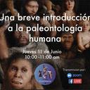 Advertisement poster for 'Una breve introducción a la paleontologia humana' with Thomas Püschel, an online conversation organised by Acción Conciencia