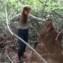 Alejandra Pascual-Garrido next to a mound of Pseudacanthotermes spiniger - image from Pascual-Garrido, A., Scheffrahn, R. 2020. Dietary Stasis: Four decades on, Mahale chimpanzees still favour Macrotermes. Pan Africa News.