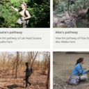 A preview of the 'Pathways into academia' page on our website, displaying links to the pathways of Susana, Alex, Elodie, Jacinto, Lucy, and Sophie