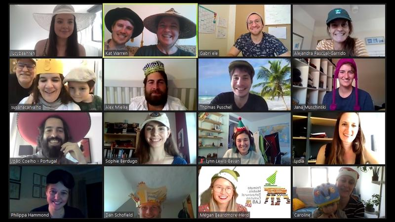 Our Primate Models for Behavioural Evolution Lab members participarting in a virtual celebration quiz via a Zoom call - there were points for the best hat so everyone is sporting headware of some kind (the winning hat featured a chicken)!