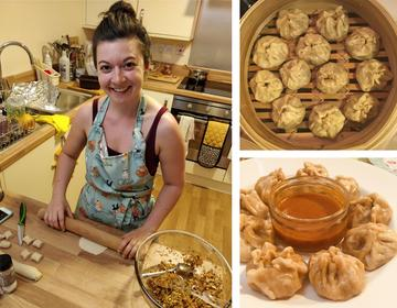 Kat's non-academic activities: an image of Kat wearing an apron whilst busy in the kitchen rolling out dough, alongside two close-ups of the finished Momos