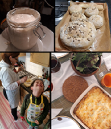 Happy bakers Susana and her son busy in the kitchen, alongside some of their outputs: sourdough starter in a jar, freshly baked bread, and a homemade lasagne