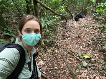 Elodie Freymann conducting fieldwork with chimpanzees at the Budongo Forest Reserve, Uganda in August 2021 (photo by Elodie Freymann)